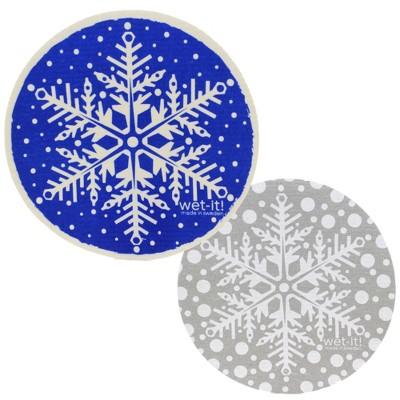 "Swedish Dish Cloth 9.25"" Gray And Blue Snowflakes Round Eco Friendly  -  Dish Cloth"