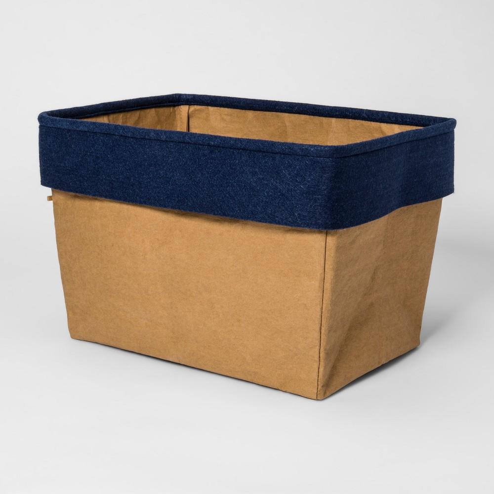 Image of Fabric Toy Storage Bin Khaki & Blue - Pillowfort , Green