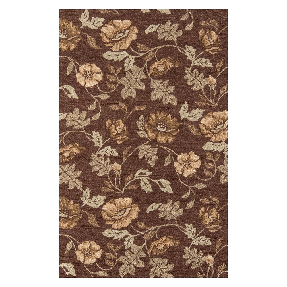 8'X10' Floral Hooked Area Rug Brown - Momeni