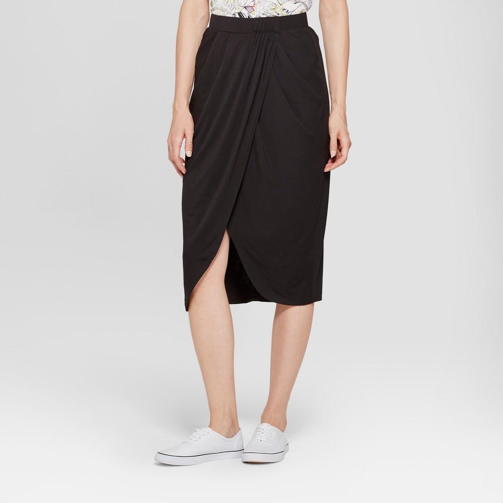 Women's Wrap Skirt - A New Day Black L