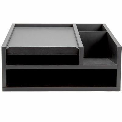 Mind Reader Wood Office Desk Organizer 5 Compartments with Letter Tray Phone Stand Pen Pencil Holder, Desktop Organization, File Sorter, Black