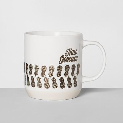 Stoneware Hello Gorgeous Mug 16oz White/Gold - Opalhouse™