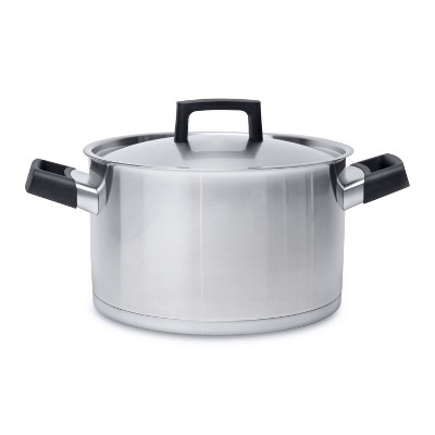 """BergHOFF Ron 10"""" 18/10 Stainless Steel Covered Stockpot 6.8 Qt, Black Handles"""