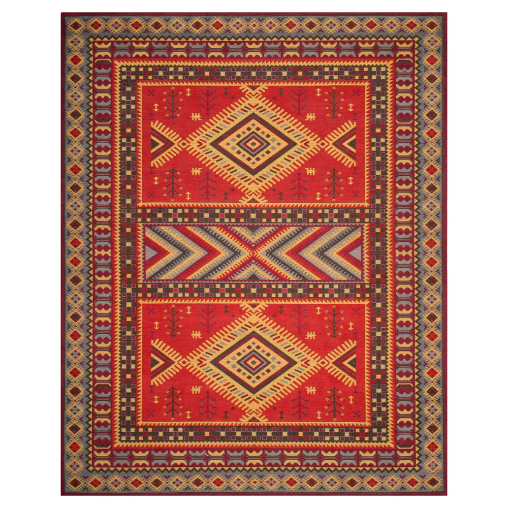 Red/Slate (Red/Grey) Tribal Design Loomed Area Rug 8'X10' - Safavieh