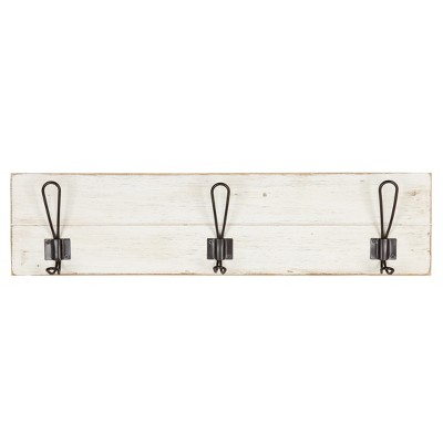 Wall Décor with 3 Hooks - White
