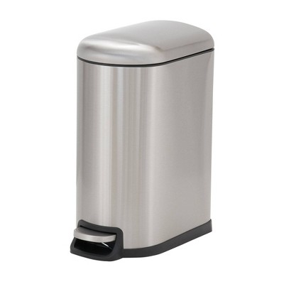 Household Essentials 10L Design Trend Narrow Step Trash Can Stainless Steel