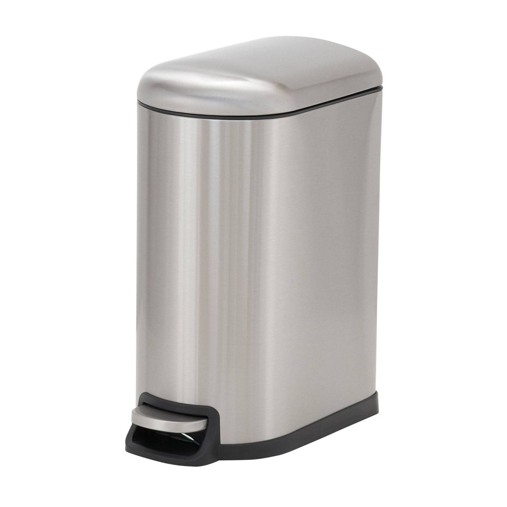 Image of Household Essentials 10L Design Trend Narrow Step Trash Can Stainless Steel