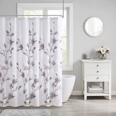 Anise Floral Printed Burnout Shower Curtain