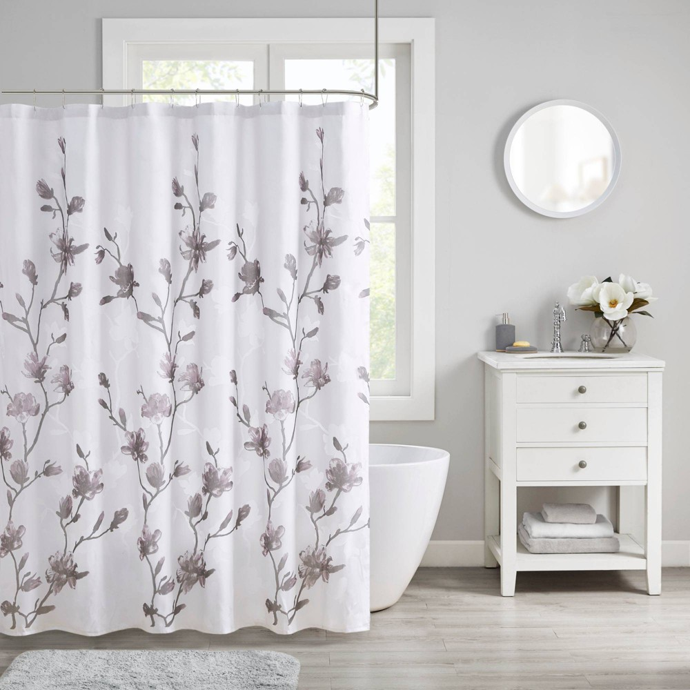 Image of Anise Floral Printed Burnout Shower Curtain Purple