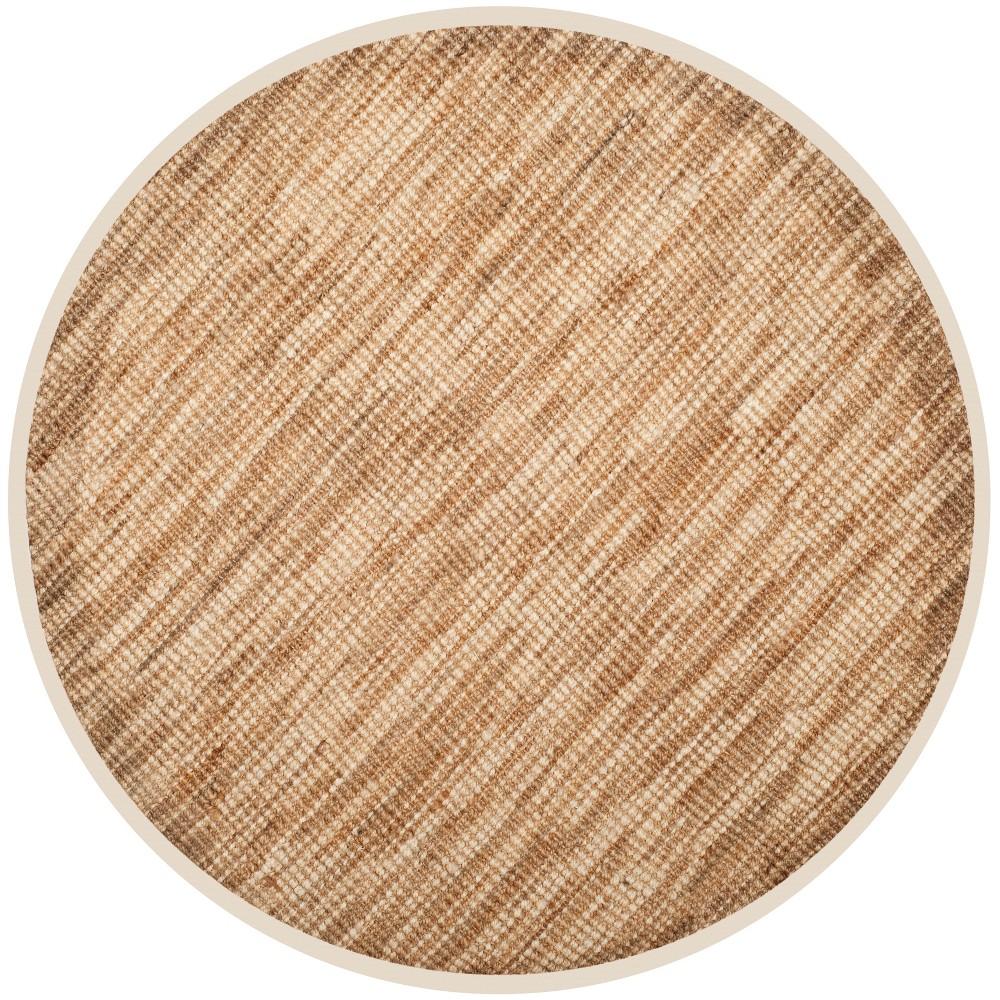 6' Solid Woven Round Area Rug Natural/Cream - Safavieh, White