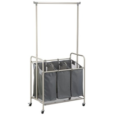 mDesign Portable Laundry Sorter with Wheels and Steel Hanging Bar