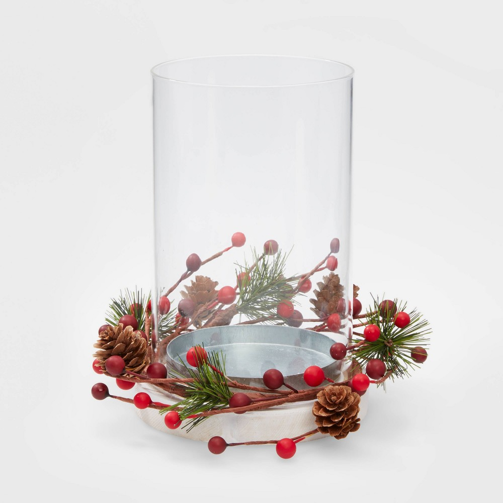 "Image of ""10"""" Glass Hurricane Candleholder with Berries - Wondershop"""