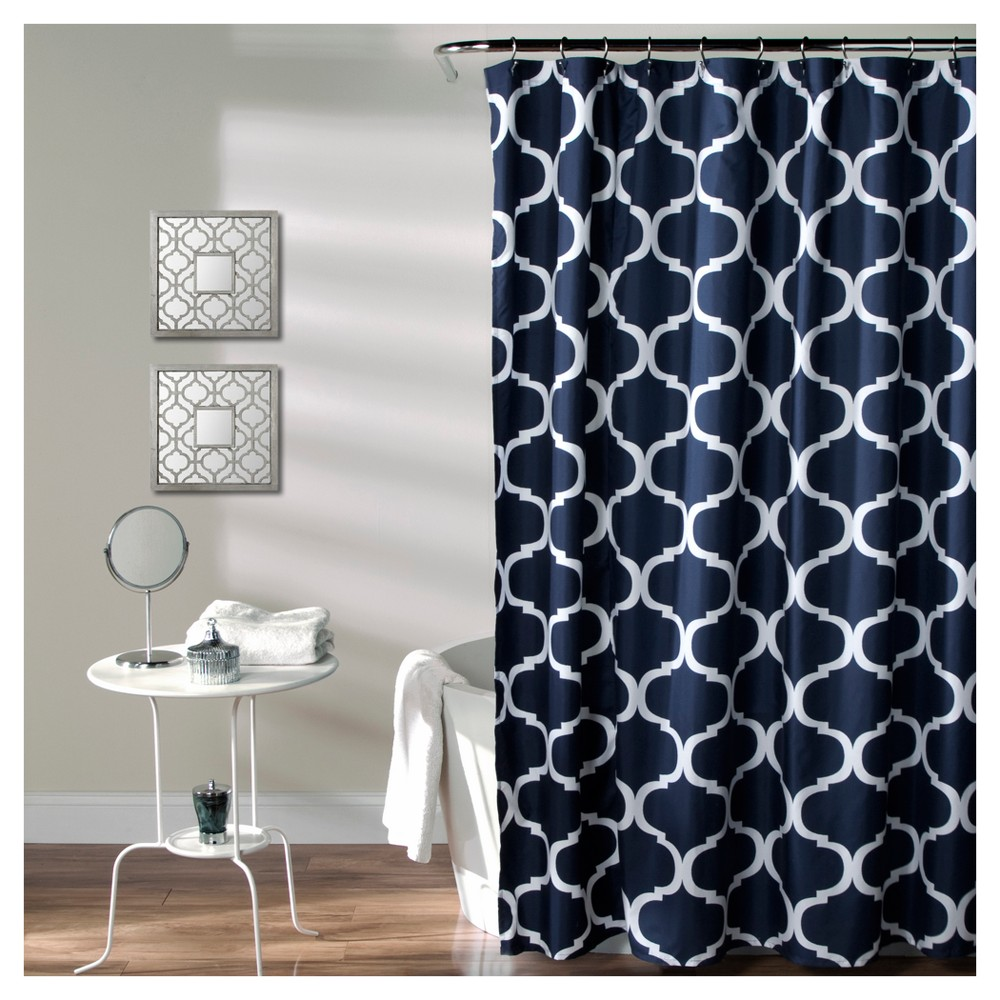 Geo Shower Curtain Navy (Blue) - Lush Decor