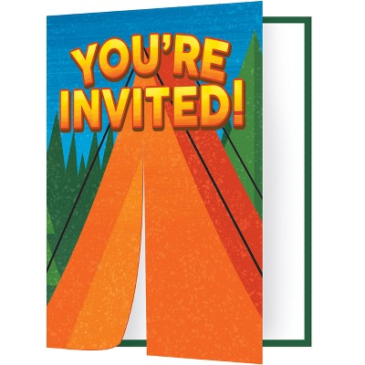 """8ct """"You're Invited"""" Camping Party Invitations"""