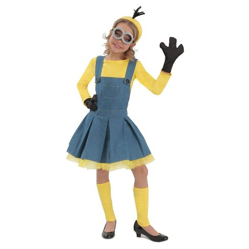 Minions Girls' Jumper Costume Yellow Small - image 1 of 1