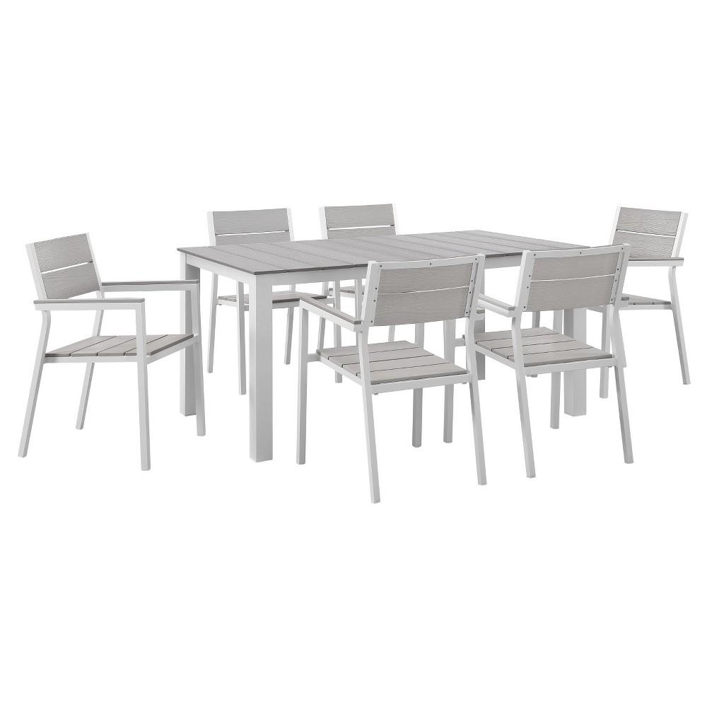 Maine 7pc Rectangle Metal Patio Dining Set - White/Light Gray - Modway