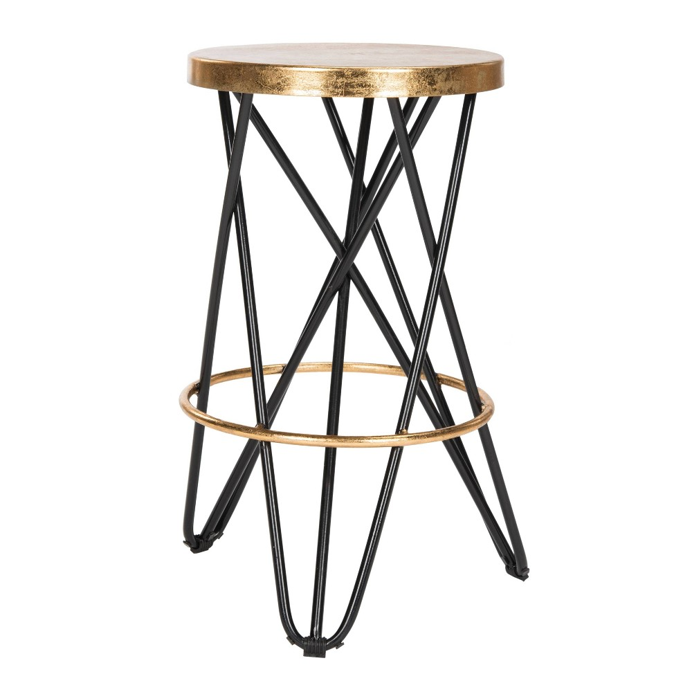 Lorna Gold Leaf Counter Stool Black/Gold - Safavieh