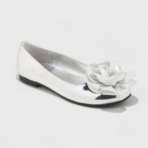 Girls' Flowers by Nina Trisha Dressy Ballet Flats - Silver 3 - image 1 of 3