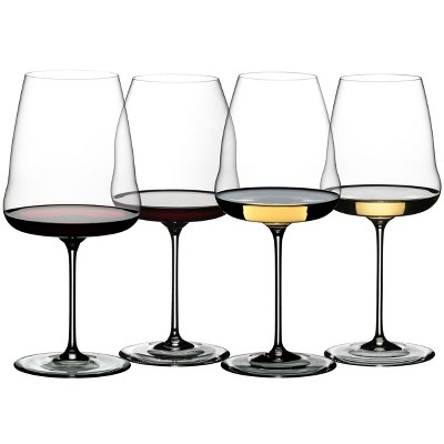 Riedel 5123/47 Winewings Red and White Wine Drinking Glasses Wine Tasting Set, Stemware, Crystal, Dishwasher Safe (4 Glasses)