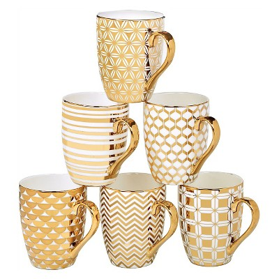 Certified International Elegance Gold Plated Assorted Tapered Mugs - 16oz Set of 6