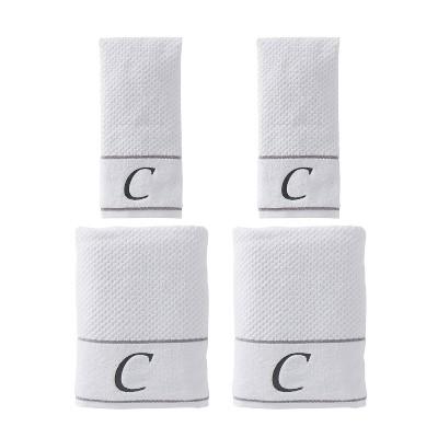 "4pc ""C"" Monogram Bath/Hand Towel Set White - SKL Home"