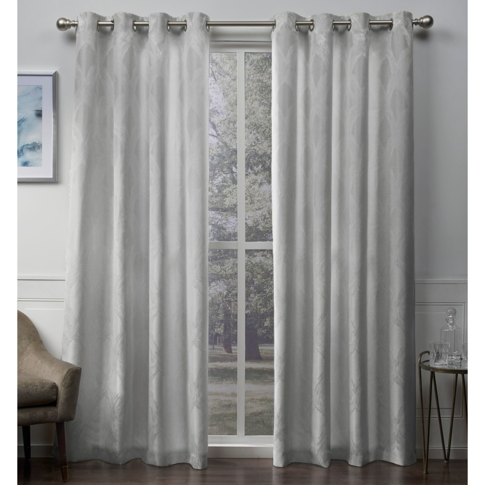 Dorado Geometric Textured Linen Jacquard Grommet Top Window Curtain Panel Pair Dove Gray 54X108 - Exclusive Home, Light Gray