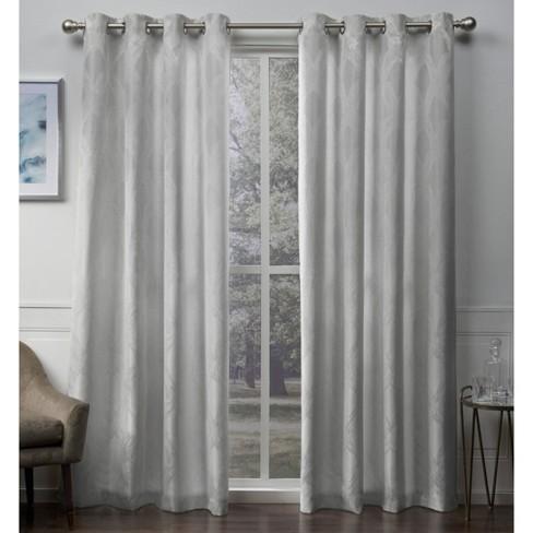 Dorado Geometric Textured Linen Jacquard Grommet Top Room Darkening Window Curtain Panels - Exclusive Home - image 1 of 7
