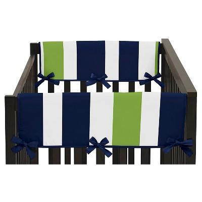 Sweet Jojo Designs Navy Blue & Lime Green Stripe Side Crib Rail Guard Covers (Set of 2)- Lime