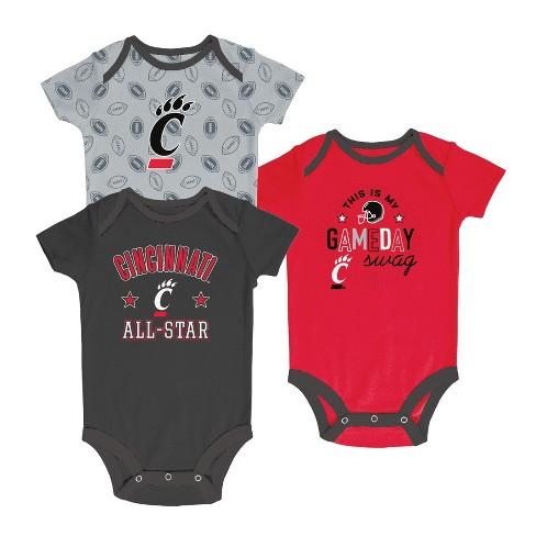 Cincinnati Bearcats Baby Boy Short Sleeve 3pk Bodysuit - image 1 of 1