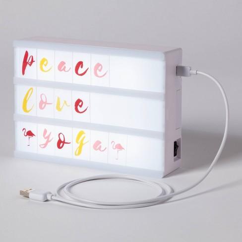 """""""Peace Love Yoga"""" LED Light Box Black - Room Essentials™ - image 1 of 2"""