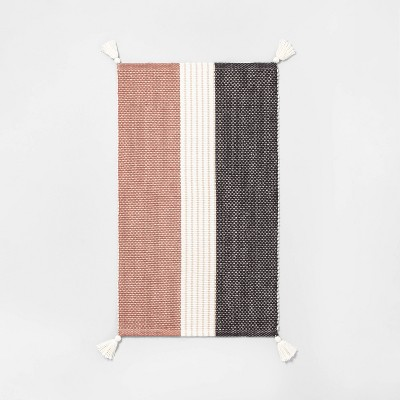 Bath Rug Colorblock Stripes Copper/Sour Cream/Gray - Hearth & Hand™ with Magnolia