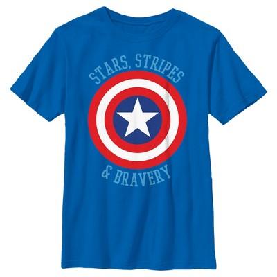 Boy's Marvel Avengers Captain America Stars Stripes & Bravery T-Shirt