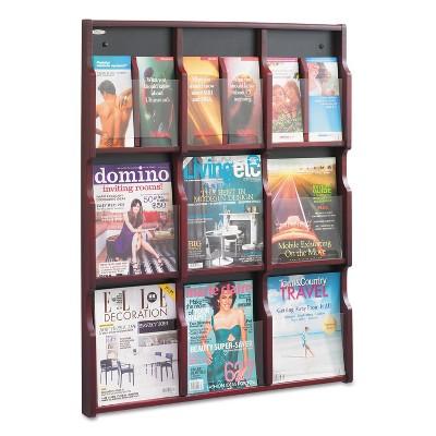 Safco Expose Adj Magazine/Pamphlet Nine Pocket Display 29-3/4w x 38-1/4h Mahogany 5702MH