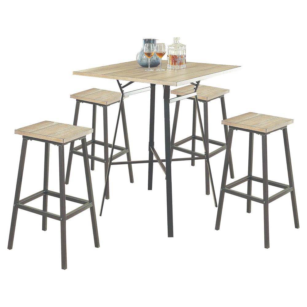 Acme Furniture Dining Table Set Oak Gray Black, Gray Oak