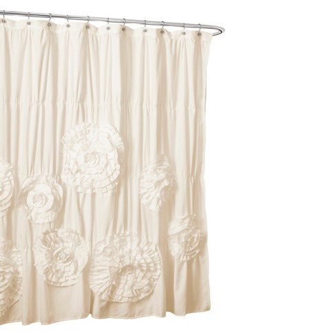 Lush Dcor Serena Flower Texture Shower Curtain