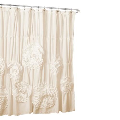 Lush Décor Serena Flower Texture Shower Curtain, Ivory