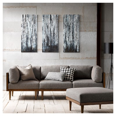 """(Set of 3) 15"""" x 35"""" Birch Forest Printed Canvas With Gel Coat Black"""