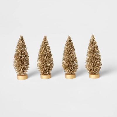 4pk Glitter Bottle Brush Decorative Figurine Set Gold - Wondershop™