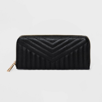 Women's Quilted Zip Closure Wallet - A New Day™ Black