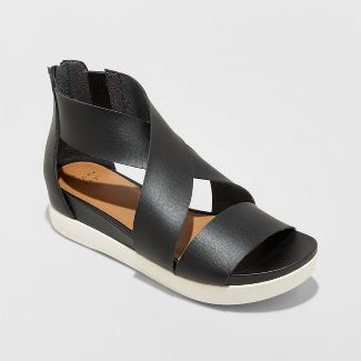 Women's Hummingbird Ankle Strap Sandals - A New Day™ Black 10