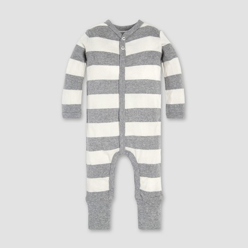 7f1d9ab9a9f Burt s Bees Baby® Organic Cotton Rugby Stripe Convertible Cuff Coverall    Hat Set - Heather Grey