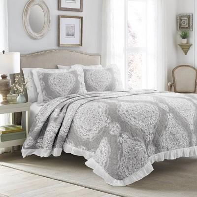 Full/Queen 3pc Lucianna Ruffle Edge Cotton Bedspread Set Gray - Lush Décor