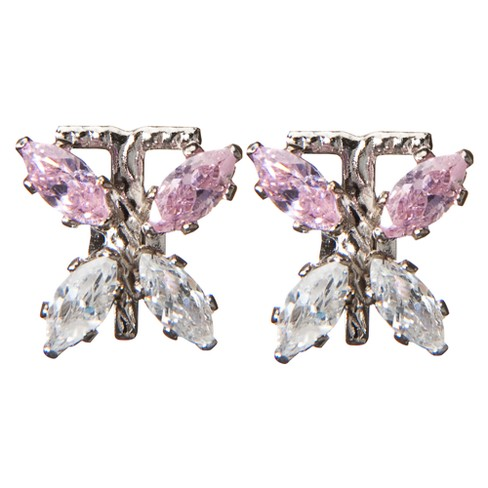 Sterling Silver Cubic Zirconia Butterfly Earrings - image 1 of 1