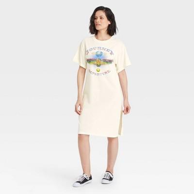 Women's Journey Short Sleeve Graphic T-Shirt Dress - Off-White