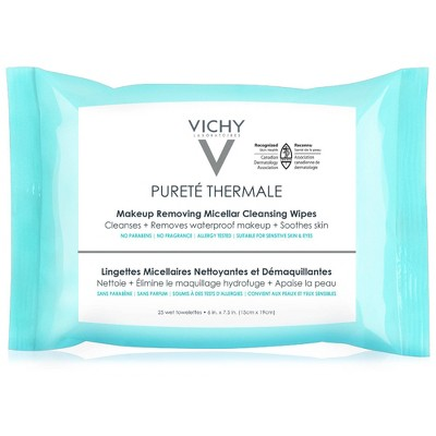 Vichy Pureté Thermale 3-in-1 Micellar Cleansing Make-Up Remover Wipes - 25pk