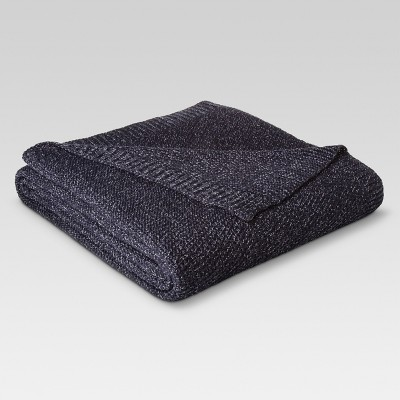 Twin Sweater Knit Bed Blanket Navy/Sour Cream - Threshold™