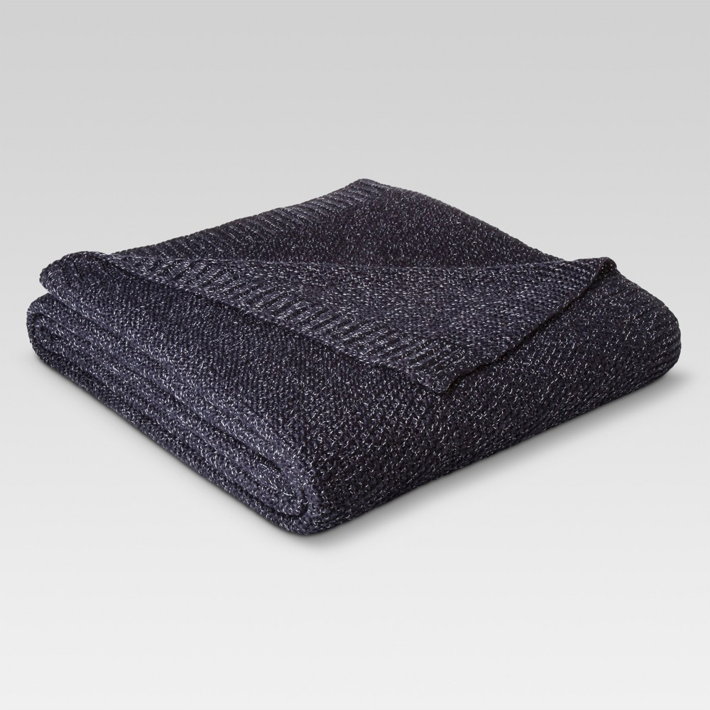 Twin Sweater Knit Bed Blanket Navy/Sour Cream - Threshold was $39.99 now $27.99 (30.0% off)