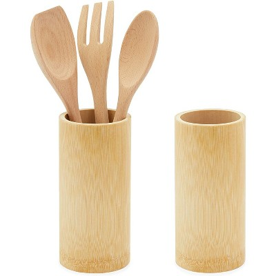 Okuna Outpost 2 Pack Wooden Bamboo Utensil Holders for Countertop, 3.5 x 7 Inches