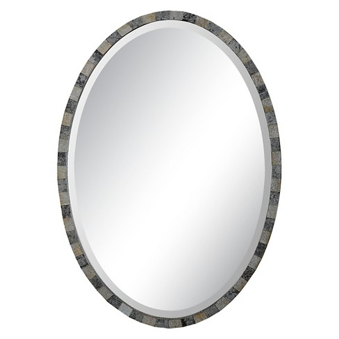 Oval Paredes Mosaic Decorative Wall Mirror Gray - Uttermost - image 1 of 2