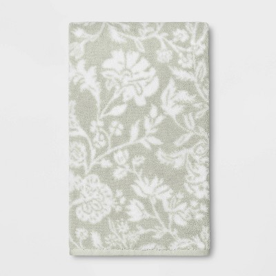 Performance Texture Bath Towel Light Sage Green Floral - Threshold™